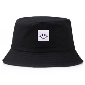 Ведро шляпа бренд Лето улыбка шляпа бассейна Панама плоские шапки Солнце вышивка козырек Рыбалка мода повседневные шляпы