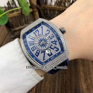 جديد الماس الحافة الطليعة تاريخ V45 SC DT رجل التلقائية الميكانيكية ووتش الأزرق حزام من الجلد المطاط الماس الهاتفي رجال الرياضة الساعات 4 اللون