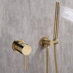 Juego de grifos de ducha de oro Oculto Montado en la pared Mezclador de ducha para baño empotrado Vlave Hand Held Shower Head Black Brushed