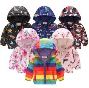 niños Ropa para chicos chicas capas de las chaquetas de la cremallera rompevientos leopardo Niños dinosaurio impermeables chaquetas sudaderas con capucha Moda niños