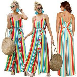 Gökkuşağı Çizgili Düz Pantolon Spagetti tulum Sashes Jumpsuit Kadınlar Yaz Tulumlar Tek Parça Renkli