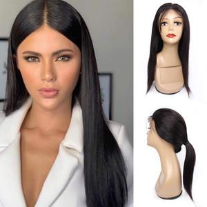 Bebek saçlı KISSHAIR doğal renk 4x4 dantel ön peruk düz Brezilyalı insan saçı peruk 12-26 inç ön dantel