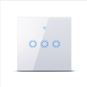 TUYA APP EU UK Typ Smart Touch-Schalter 3 Gang Einzelsteuerung WiFi + RF-Fernbedienung wechseln