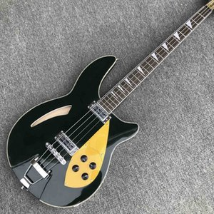 Bass guitar Blackish green 4 strings rich electric bass guitar Fishbone binding Chrome hardware Free shipping