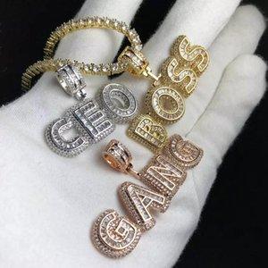 Nom personnalisé Collier cadeau personnalisé lettres Pendentif chaîne Baguette Glacé candi lettres collier pendentif bijoux cadeau