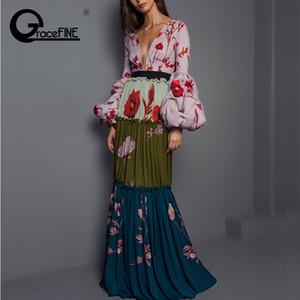 Femmes Sexy col en V Robe à motif floral lanterne manches plissées Boutons Casual Maxi robe longue plissée de Bohème Slim Vestidos 2019 Y190425