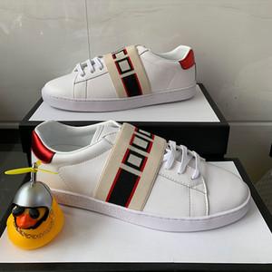 Imprimir Stripe Designer Sapatos Top Quality Cinza Branco Ace Bordado Mens Mulheres Genuíno Couro Designer Sapatilhas Luxo Casual Sapatos