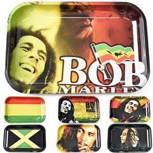 Metal Rolling Tepsi Bob Marley RAW Boyut 280 * 180mm Tütün Karikatür Rulo Tepsi El Merdane Sigara Aksesuarları Sigara araçları Tepsileri