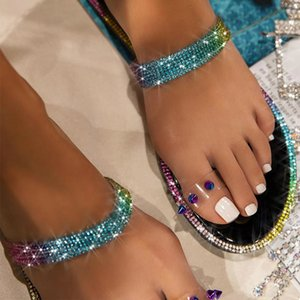 Summer Women Slippers Rhinestone Ring Toe Flat Heels Luxury Slides Fashion 2020 Beach Outdoor Ladies Shoes Zapatos De Mujer