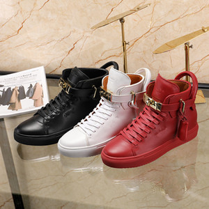 Mode Hommes Buscemi Locks Chaussures en cuir véritable PLATS Arena Sport Chaussures High Top Casual Designer Snekers Taille 38-45