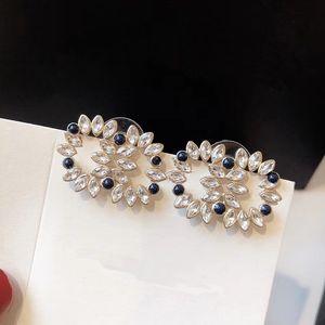 C1941 Unique temperament luxury crystal leaf 925 silver needle female ear stud fashion delicate cubic zirconia geometric earrings