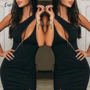 Fashion New Women Summer Dress Sexy Bodycon One Shoulder Zipper Dress Hollow Out Sexy Ladies Evening Party Clubwear Designer Clothes
