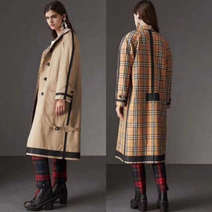 luxo high-end da marca de moda feminina Europa e Reino Unido estilo britânico dupla face clássico longa jaqueta solta Trench Coat