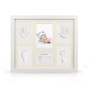 Baby Handprint Kit & Footprint Photo Frame for Newborn Girls and Boys Unique Baby Shower Gifts Set for Registry Memorable Keepsake Box Dec