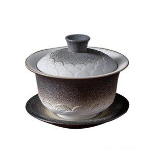 Teaware jantar, cozinha Bar Terrina japonês cerâmica Tampa Tea bacia Saucer Set Vintage Gaiwan Chinese Kung Fu Teaware Copos Tea criativa