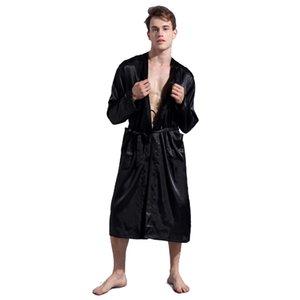 Chinese Men's Wine Red Satin Robe With Belt Kimono Bathrobe Gown Nightgown Sleepwear Home Leisure Pajamas S M L XL XXL D202-10