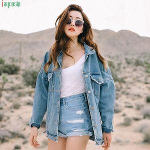 JAYCOSIN Retro coats and jackets women plus size coats Women Oversize Loose Button Jacket Casual Denim Jeans Pocket Coat Outwear