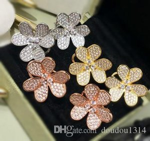yellow gold plated copper full cz stone three leaf flower earrings for women 2019 hot selling new luxury fashion jewelry