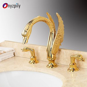 Onyzpily Chrome Widepspread Gold Bathroom Mixer Faucet Handles Tap Deck Faucet Double Basin Swan Shape Finish Mount Black Sink Umjqf