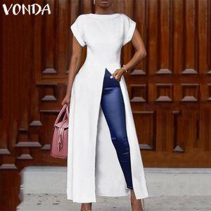 Spalato Hem maxi vestito da partito lungo VONDA Summer Dress donne camicetta sexy 2019 Female signore dell'ufficio Vestito estivo casuale Vestido Plus Size