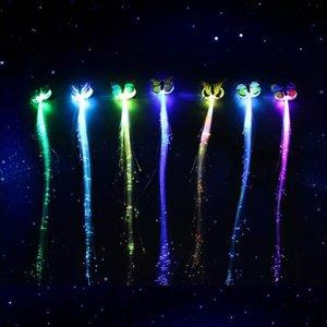 Yedi renkli ışık yayan kelebek örgü LED flaş ipek örgü fiber optik ışık yayan firkete bar parti gece pazarı durak