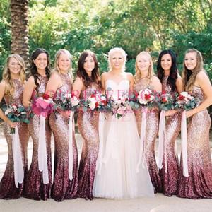 2019 Shining Seqeuins Pembe Degrade Gelinlik Modelleri Jewel Boyun Mermaid Ülke Stil Hizmetçi Onur Düğün Konuk Kıyafeti Custom Made