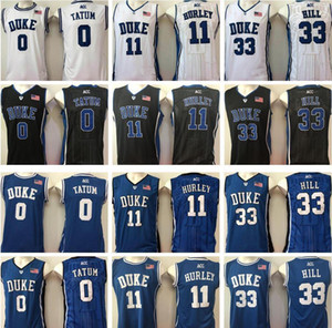 NCAA Duke Blue Devils Jeass Jayson # 0 Tatum Jersey # 11 Bobby Hurley Grant Hurley # 33 Hill Blue White Black College College Basketball Jerseys