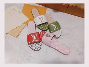 Mit Box Damen Print Lackleder Marke Bom Dia Mule Trendige Rutsche Sandale Lady Canvas Brief Anatomische Leder Laufsohle Designer Slipper