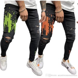 Fermuar Baskılı Erkek Kot Delikler Stretch Uzun Erkek Kalem Pantolon Sıska Distrressed Casual Erkek Pantolon
