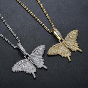 Животное бабочка ожерелье кулон обледенелая цепь золото серебро кубический Циркон мужские женщины хип хоп рок ювелирные изделия