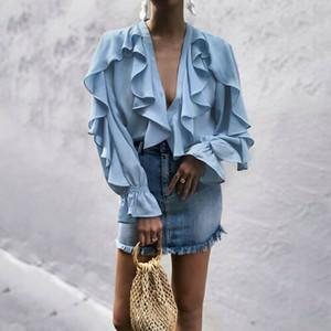 Frauen süßen gekräuselten Chiffon Bluse V Ansatz lange Hülse niedliche weibliche beiläufige Art und Weise blauen Hemd stilvolle Tops plus Größe