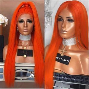 오렌지 긴 직선 합성 레이스 프런트 가발 오렌지 가발 블랙 / 아프리카 여성 브라질 레이스 가발
