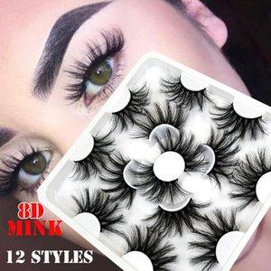 7 paires 8D Mink cheveux faux cils 25mm Cils long Wispy Fluffy main Cruauté Vison Cils Outils de maquillage
