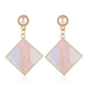 Enamel Geometric Earrings For Women Long Statement Earrings Simulated Pearl Earring Colorful Earings Fashion Jewelry