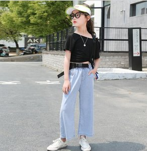 Girls' jeans summer 12-year-old wide leg pants 9 Korean fashionable foreign style 9 children's T-shirt children's summer wide leg pants