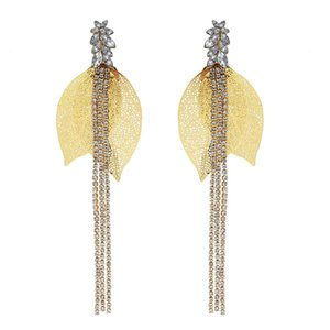 Fashion New Gold and Silver Hollow Leaf Long Tassel Earrings Rhinestone Earrings for Woman