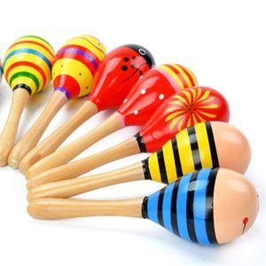 Holz Baby Rattle Spielzeug 19CM Holz Maracas Kinder madera Musical-Sand-Hammer-Säuglingskleinkindkleinkindspielzeug Karikatur-Baby Shaker Kinder