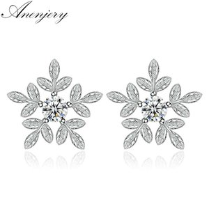 Anenjery 925 Sterling Silver Snowflake Zircone Orecchini di cristallo per le donne Fiori foglie gioielli orecchio brincos oorbellen