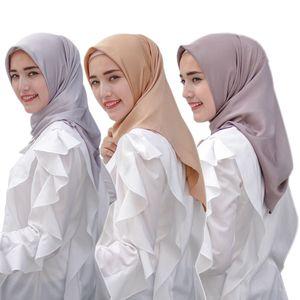 110*110cm Silk Satin Muslim Shawl Instant Scarf Plain Color Wrap femme musulman Inner Hijabs Islamic Turban Scarves For Women