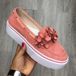 Новая весна Женщины Квартиры Обувь на платформе кроссовки скользят по Цветок Flats кожа замша женские Мокасины Мокасины Повседневная обувь 2019