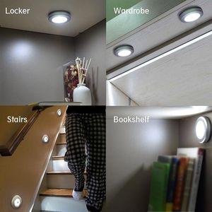 6 LED Armoire Lumière ronde activé par le mouvement Veilleuse Placard Bibliothèque Sous-sol Garage Light Stick-Partout Veilleuse