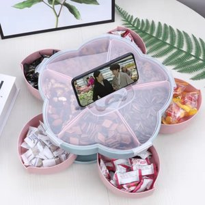 2-layer New Petal-Shape Rotating Snack Box Candy Tray Food Storage Box Wedding Candy Plates Dried Fruit Organizer