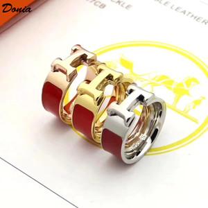 Donia 보석 핫 링 패션 정장 에나멜 티타늄 스틸 링 유럽과 미국의 창조적 인 남성과 여성의 반지 수제