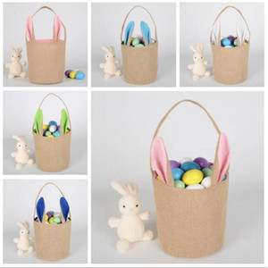 Osterhase Korb Jute Kaninchen-Ohr-Eimer Ostern DIY Eier Taschen Tote kreativer Süßigkeit-Geschenk-Handtaschen-Karikatur-nette Runde Festival Leinwand Pail D9
