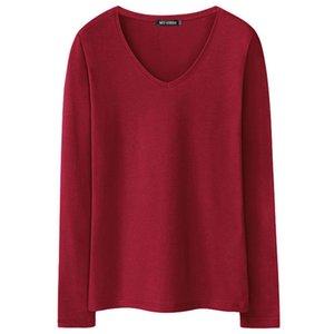 2019 Новые женские футболки с длинным рукавом майка с V-образным вырезом Pure Color Tshirt Woman Casual Tees Футболка Топы Женская футболка женская