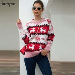 Sampic natal mulher pulôver impressão casual camisola de grandes dimensões o pescoço solto outono inverno camisola de malha 2019