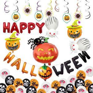 Halloween Pumpkin Ghost Balloons Sets Decoraciones de Halloween Spider Foil Balloons Juguetes inflables Bat Halloween Party Supplies VT0547