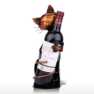 decoración de interiores TOOARTS Crafts Cat soporte en forma de vino vino estante de metal escultura escultura práctica de decoración del hogar