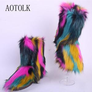 Bottes de neige Femme fourrure Chaussures Chaussures hiver chaud Faux femme Bottines plateforme Colorfur intérieure Plus Size DE