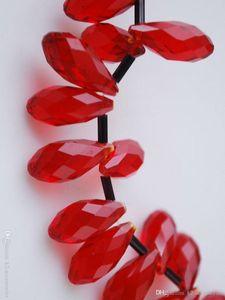 100 unids / lote HOT RED Facetas Teardrop CLEAR Crystal Glass Suelta Perlas 6 * 12mm Joyería DIY Hacer Granos Sueltos